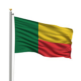 Flag of Benin waving in the wind in front of white background