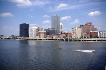 Pittsburg Skyline with river in foreground