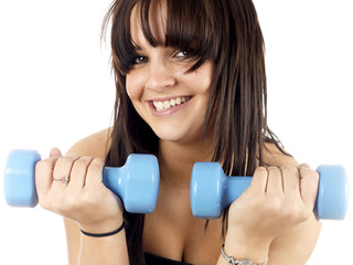 Happy Teenager Lifting Weights.Model Released