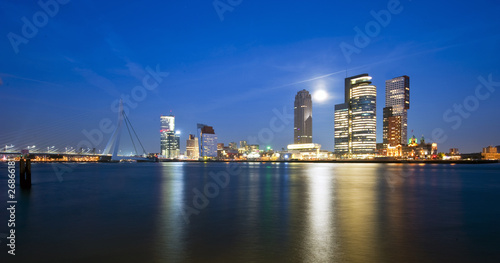 Rotterdam and rising moon