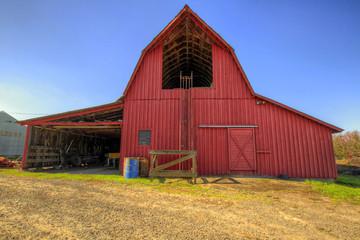 Red Barn in Oregon Farmland