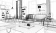 Quadro interno casa rendering 3d wireframe arredamento