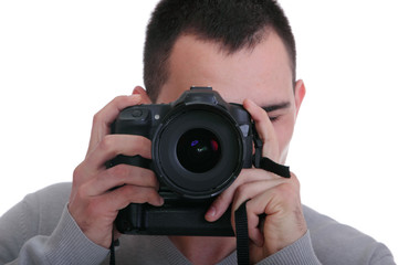 Portrait of male photographer with cameras