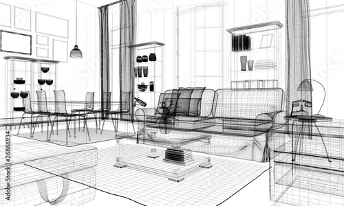 Quadro interno casa rendering 3d wireframe arredamento for Stampe arredo casa