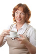 happy senior woman drinking tea isolated
