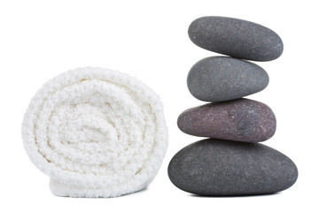 spa stones and towel isolated