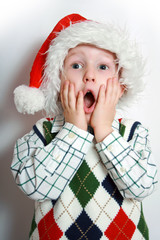 boy with santa-hat, smiling