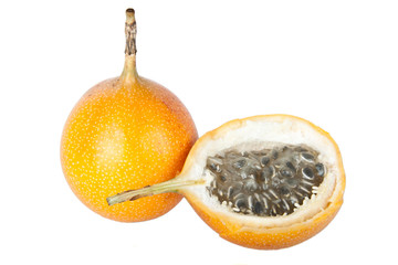 exotic fruit granadilla isolated on white background