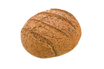 Loaf of baked wholemeal bread