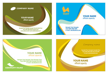 Set of 4 templates for business cards