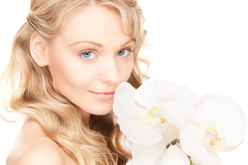 beautiful woman with white flower