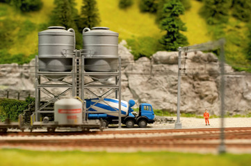 model cement lorry loading from cement silos