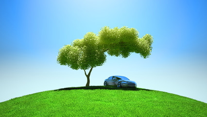 Modern vehicle under tree on green fileld
