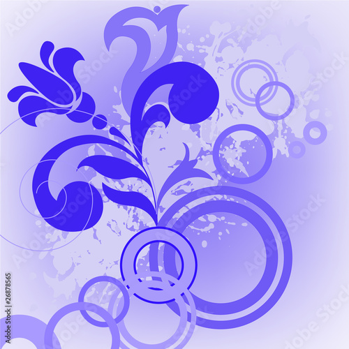 Blue flower and circles
