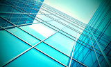 modern blue glass skyscraper perspective view poster