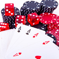 aces, dice and poker chips