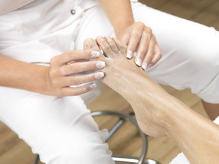 Young Woman Having Pedicure. Models Released