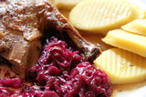 Roast Barbary duck with marzipan apple, red cabbage & dumpling P