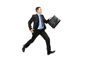 Full length portrait of a businessman running away