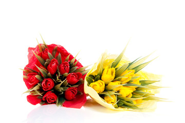 bouquets red and yellow tulip flowers isolated white background