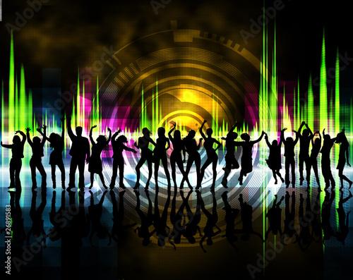 siluetas de chicos y chicas bailando con fondo de colores