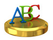 abc letters on gold podium