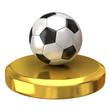 Soccer ball on gold podium