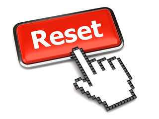 Red reset button and hand cursor