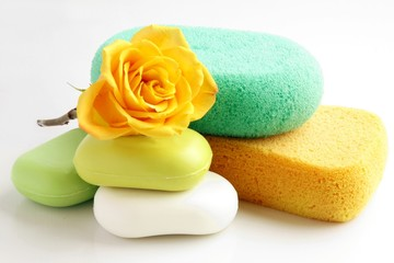 soaps and sponges in bathroom