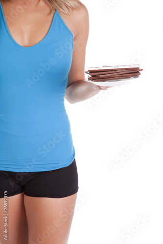 Womans body chocolate on plate