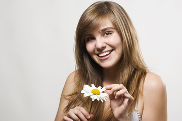 Woman with camomile