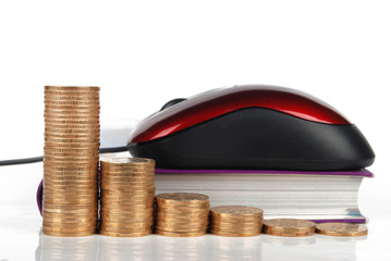 Mouse ,coins with books on white background