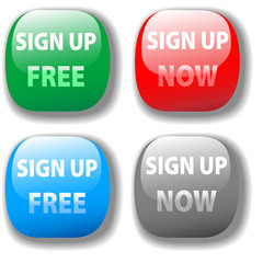 Sign up now free website icon button set
