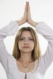 Meditation woman. White isolation.
