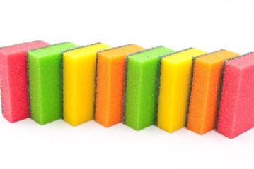Coloured kitchen sponges