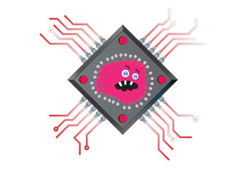 Virus Powered Computer Chip Illustration in Vector