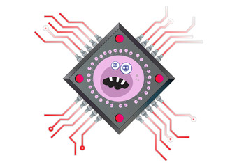 Computer Chip Powered by  Virus Technology  Illustration in Vect