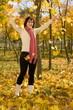 woman on the autumn leaf