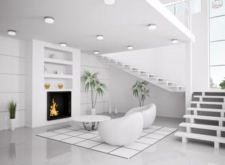Weisses Wohnzimmer mit Kamin interior 3d render