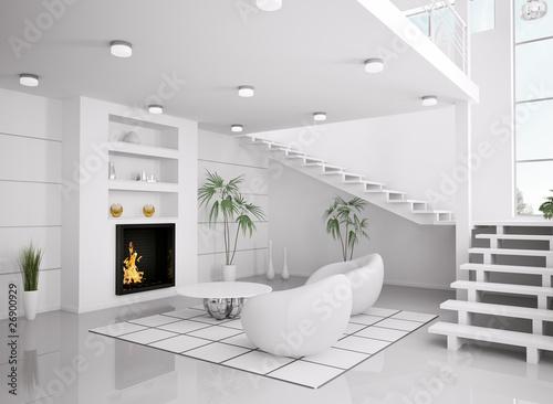 weisses wohnzimmer mit kamin interior 3d render stockfotos und lizenzfreie bilder auf fotolia. Black Bedroom Furniture Sets. Home Design Ideas