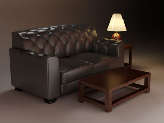 Leather classic sofa and table. Night interior design