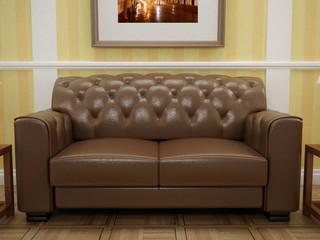 Classic sofa in brown leather. Design interior