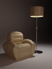 Leather armchair and lamp in simple background. Night interior d