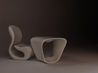 White Chair and table in future. Minimalism design