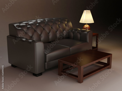 Leather classic sofa and table. Night interior design
