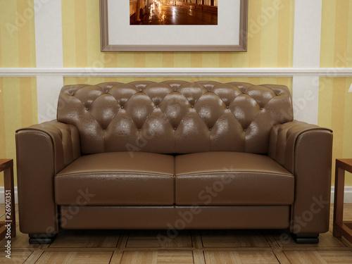 Classic sofa in brown leather. Design interior