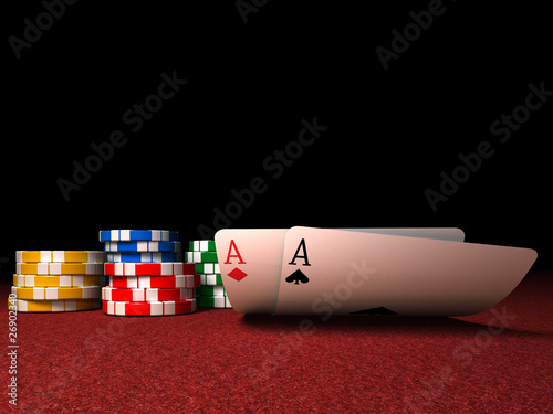 Pair of Aces and Poker Chips on a Red Felt