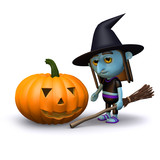 3d Witch with pumpkin