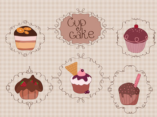 Set of Cup Cakes on vintage background