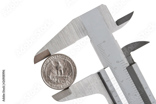 caliper with a quarter of dollar